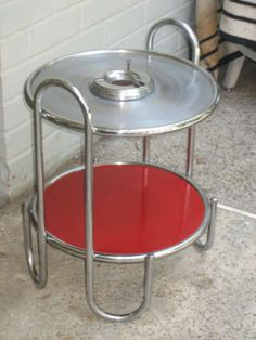 Wolfgang Hoffman chrome table. Vintage Ashtray Table Howell Streamline Deco Chrome Machine Age 1930s