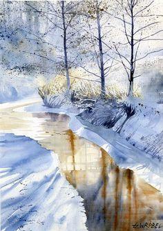 Grzegorz Brobel ~~ amazing watercolor - Winter