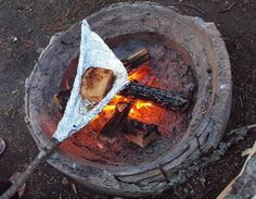 Never would have thought to campfire grill this way in case I forget the pudgy pie maker and/or the grill... Because I know I'll always have tinfoil.