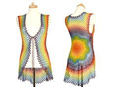 #Rainbow #Vest - #Crochet #Mandala - #Flower Vest - #EcoFriendly - #Recycled #Wool - #Hippie #Clothing