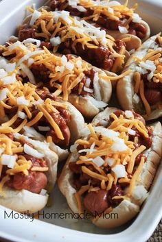 Loaded Oven Chili Dogs // easy to make a big  batch for parties during summer or winter via Mostly Homemade Mom #gameday #comfort #appetizer