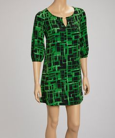 Take a look at this Green Geometric Dress by Point Fashion on #zulily today!