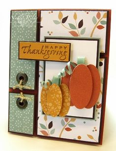 Love the pumpkins from ovals - great idea for a fall card using the Cricut Art Philosophy cartridge.  Artwork by Nancy Riley