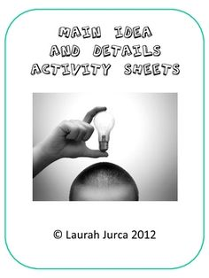 Main Idea and Details Activities and Printables $3.50