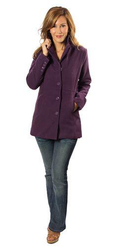 4-Button Purple Pea Coat