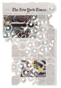 pattern, donna ruff, art on newspaper, cut paper art, paper work, fashion blog, cut outs, diy projects, design