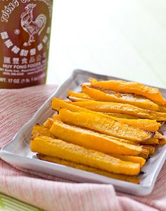 """Baked Sriracha Butternut Squash Fries, pinner wrote: """"One word: Amazing! I used the cubed squash from Costco & added a Tsbp of siracha & some red pepper flakes because I like it SPICY!! Baked an extra five mins to make a little more roasted."""" #cleaneating butternut squash vegan, sriracha butternut, veggi, side, food, fried squash recipes, squash fri, winter squash, bake sriracha"""