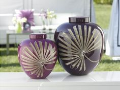 Vases, Gold Palm Leaf Purple Vases,  so decorative, over 3,000 beautiful limited production interior design inspirations inc, furniture, lighting, mirrors, tabletop accents and gift ideas to enjoy pin and share at InStyle Decor Beverly Hills Hollywood Luxury Home Decor enjoy & happy pinning