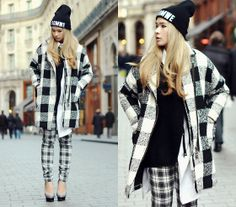 Beanie, Black Loose Cardigan, Forever 21 Checkered Pants, Check Print Coat, Charlotte Olympia Dolly Pumps