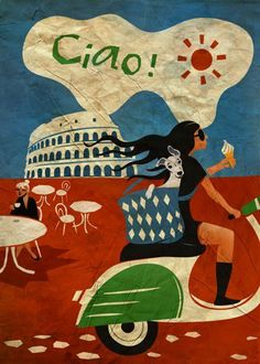 Ciao! Lovely poster with Colosseum and girl in black on a white and green Vespa. #Italy #Italia #1950s