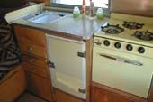Vintage 1955 Shasta Trailer, with yellow Kitchen Laminate