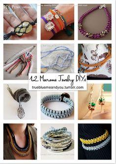 12 Favorite #Macrame Jewelry DIYs. #diy #jewelry #diy_jewelry #roundup #tutorial #bracelet #necklace
