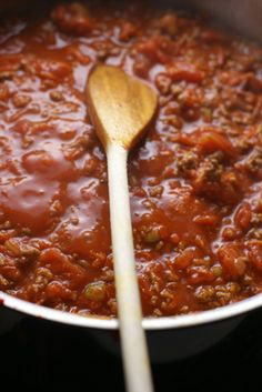 Perfectly Bubbling Bolognese Sauce ~ Erins Chunky Bolognese Sauce | 5DollarDinners.com