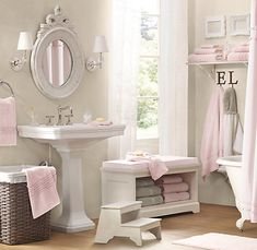 Little girl bathroom. It's really too bad that if an actual child had this bathroom, it would definitely not look this pretty. Pity.