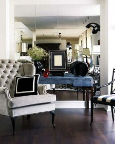 mirrors, living rooms, mirror mirror, wing chairs, club chairs, mirror wall, mirrored walls, wingback chairs, console tables