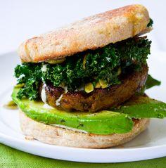 Shamrock Breakfast Sandwich - avocado, kale, jalapeno sauce, pepitas
