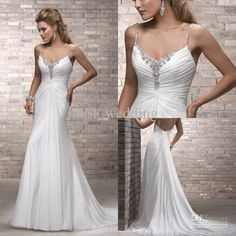 Wholesale 2012 Sexy New Spaghetti Strap Beaded Ruched Sheath White Open Back Wedding Dresses Bridal Gown WD813, $95.2-116.48/Piece | DHgate
