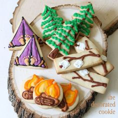 Adorable camping cookies by Meaghan Mountford of TheDecoratedCookie.com