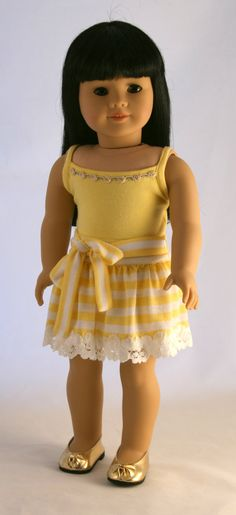 American Girl Doll Clothes - Striped Knit Skirt and Yellow Tank Top