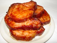 """Hawaiian Pork Chops  Another Pinner said """"I cooked for 24 years at the Fire Hall, retired in 1997 and guys still ask me for this recipe. This is so good it's like I say, It'll jerk a tear out of a glass eye."""" 10 thick pork chops -   12 ounces ketchup (about half a bottle) -   1-1/2 cups water -   1/2 cup sugar -   1/2 cup vinegar -   Salt and pepper to taste -   1 small can crushed pineapple"""