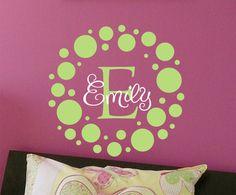 Polka Dot Childrens Wall Decal Monogram Vinyl Decal- Vinyl Lettering Wall Art - Nursery of teen girl's bedroom