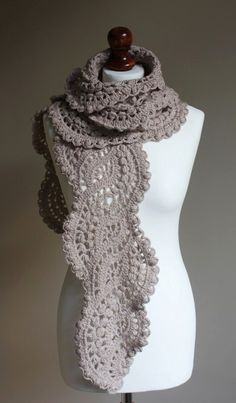 Crocheted long lace scarf