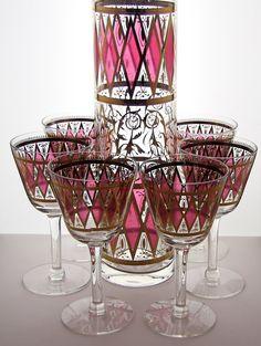 West Virginia Glass Bar pitcher + Glasses #vintage bar #retro