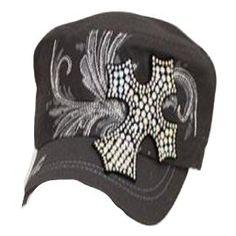 Gray Rhinestone Cross Cadet Hat In Stock $20