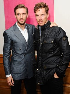 Benedict Cumberbatch pauses for a pose with Dan Stevens at a London screening of Stevens's new thriller The Guest on Monday.