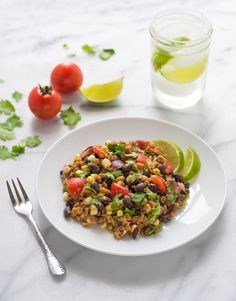Southwest Farro Salad with Corn and Tomatoes. An easy, healthy, one-bowl dinner