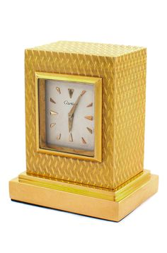 Vintage Cartier 18k Gold Desk Clock. Circa 1960s.