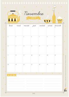 FREE printable november 2014 write-in Calendar ^^| Zü