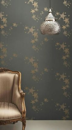 metal star, high ceiling lighting, metallic home decor, star wallpap, kid rooms, decorative metal chairs, wallpaper on ceiling, dark wallpaper, accent walls