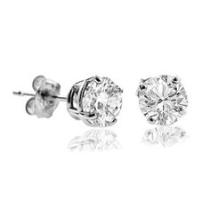 1/4 CT Diamond Stud Earrings 14k White Gold (I1-I2 Clarity,