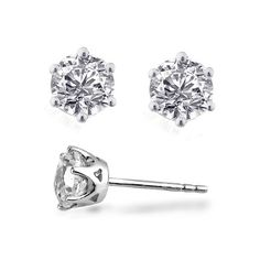 "Swarovski Zirconia Stud Earrings in Platinum Overlay (Retail Price $99.00) ""Our Price is $16.00"" Only at nomorerack.com"