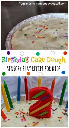 Birthday Cake Dough ~ sensory play recipe for kids by FSPDT Vanilla scented and baby safe. Great for fine motor skills and sensory exploration.
