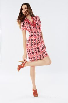 #KarenKane Printed Cascade Wrap Dress #Belk125 #dresses #bright #fashion