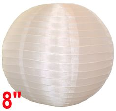 "8"" White Chinese Japanese Silk Lantern  Diameter: 8""  Expanding with a metal frame  Bulb and cord are not included"