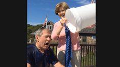 President Bush accepts Jenna Bush Hager's Ice Bucket Challenge