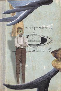 Boy Standing - collage - cut & paste