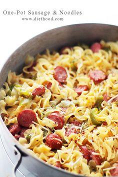 One-Pot Turkey Sausage and Noodles Recipe - RecipeChart.com