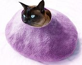 http://www.etsy.com/treasury/MTAzOTQ2MDd8MjcyMzU0OTc5OA/even-the-aliens-wonder-what-in-the-heck#Cat Bed Cave House Purple with FREE Cat Ball Felted Wool