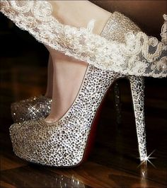 sparkly heels with the wedding veil