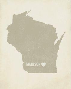 I Love Madison Wisconsin - Wood Block Art Print $39.00