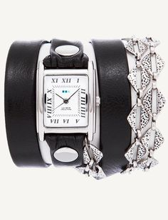 La Mer Collections' Silver Aztec Chain Wrap Watch