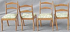 Vintage Dollhouse Dining Room Chairs Set of 4