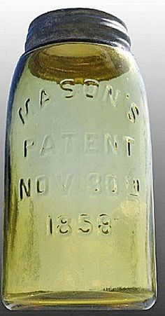 Mason's, Patent Nov 30th 1858, Yellow Olive, QuartA quart yellow olive Mason's glass fruit or canning jar with embossed Patent Nov 30th 1858 (2)