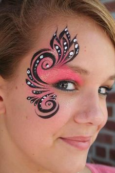 eye makeup, paint idea, face paintings, body paintings, swirl, art faces, facepaint, eye art, face painting designs