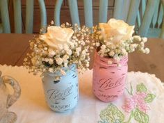 Gender Reveal Details - shabby chic mason jars