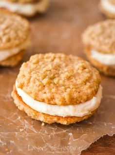 These are my all-time favorite cookies. My youth group leader shared these with me and I have never made another oatmeal cookie/cream pie recipe since!